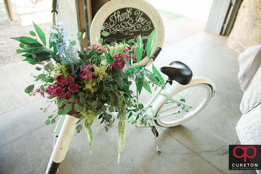 Vintage bicycle with flowers.
