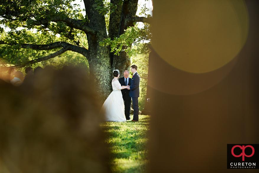Creative view of teh farm wedding.
