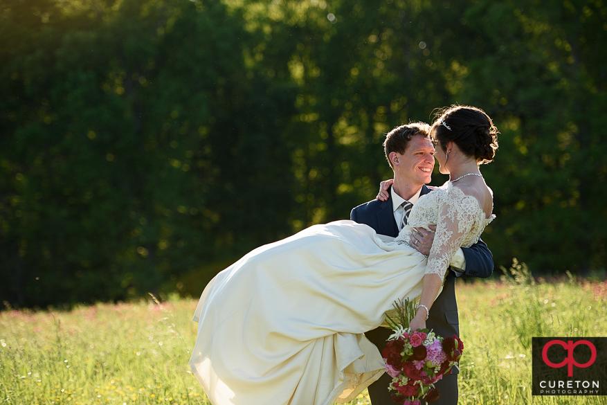 Groom and bride in amazing sunlight.
