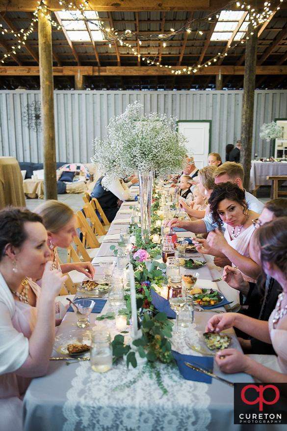 Guests eating at the reception.