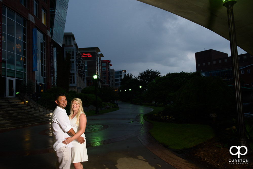 Bride and groom in downtown.