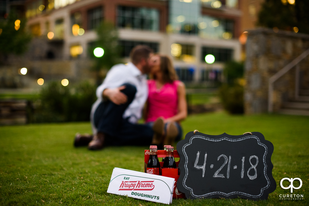 Save the Date photo with Coca-Cola bottles.
