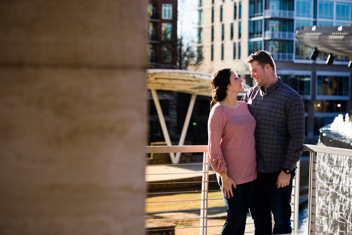 Engaged couple in downtown Greenville.