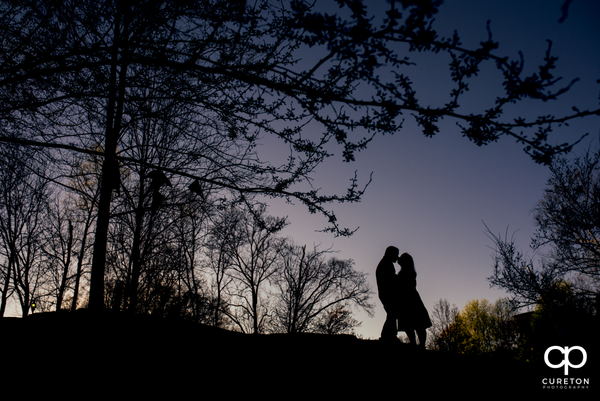 Silhouette of a couple kissing in the park during a Greenville,SC park engagement session.