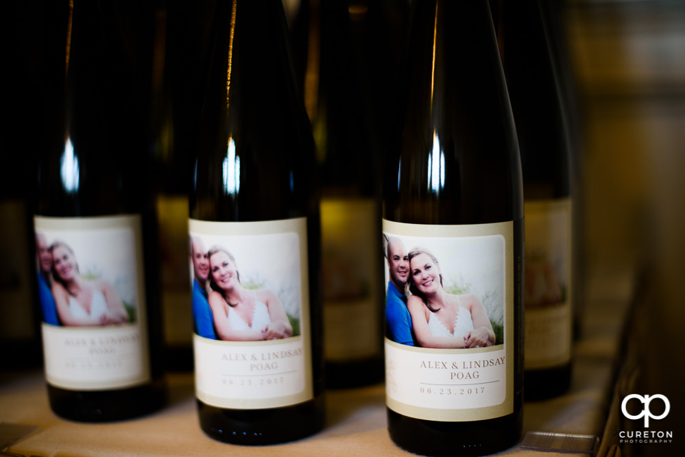 Custom labeled wine bottles with the wedding date.
