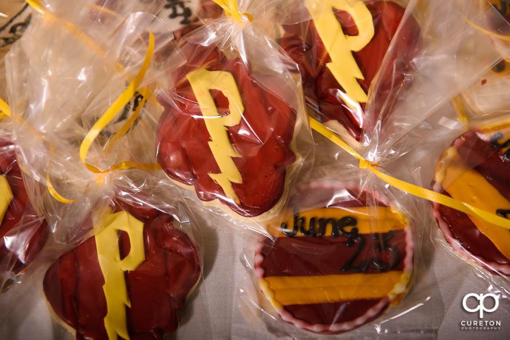 Custom Harry Potter cookies at the wedding rehearsal dinner.