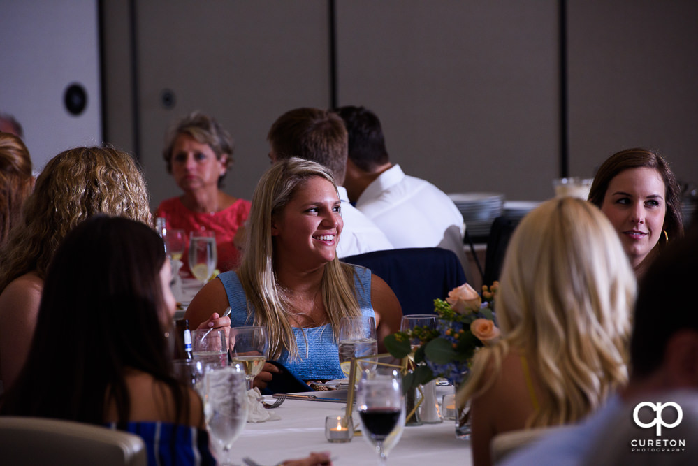 Guests enjoying themselves at the rehearsal dinner in Greenville.