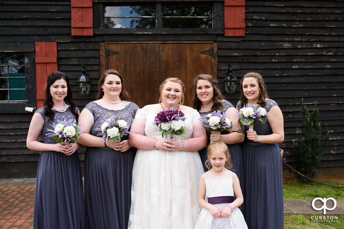 Bride and bridesmaids before the wedding at The Grove at Pennington.