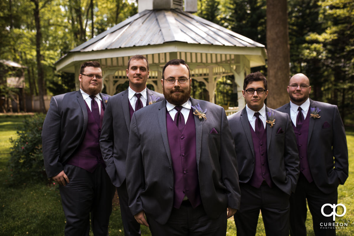 Groom and his groomsmen before the wedding at The Grove at Pennington.