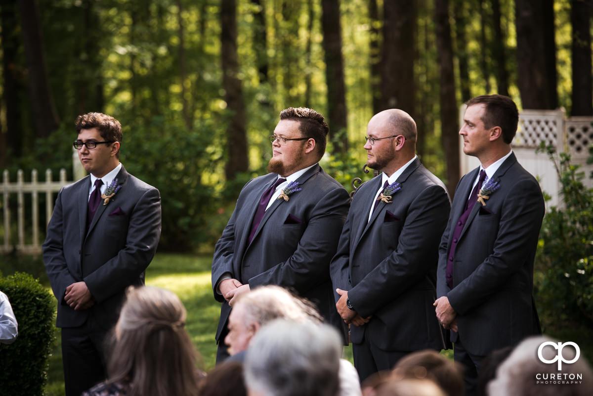 Groomsmen at the ceremony.