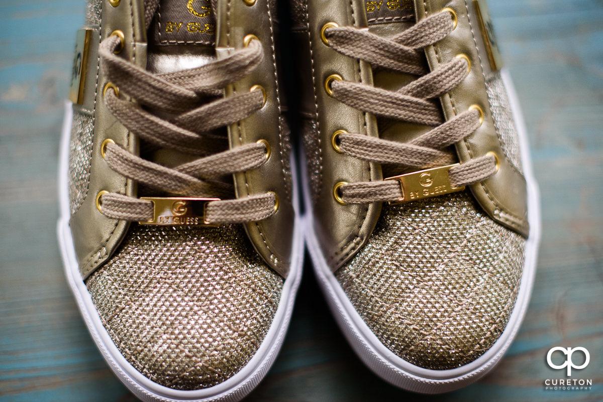 Closeup of bride's Guess shoes.
