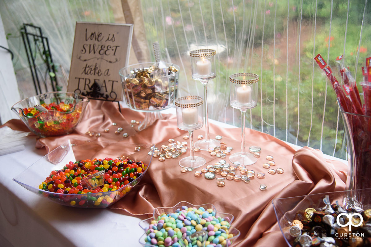Sweets table at the wedding reception.