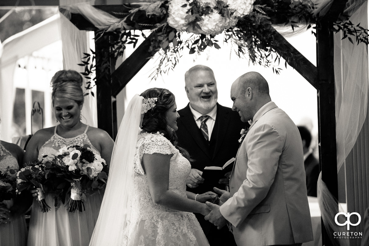 Bride and groom saying their vows.