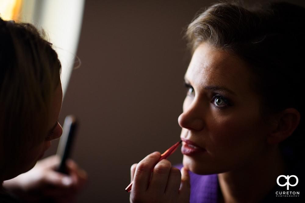 Bride getting ready .