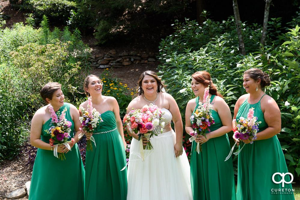 Bridesmaids having fun.