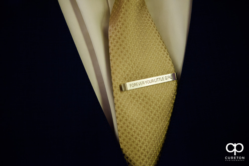 Custom tie clip for the father of the bride.