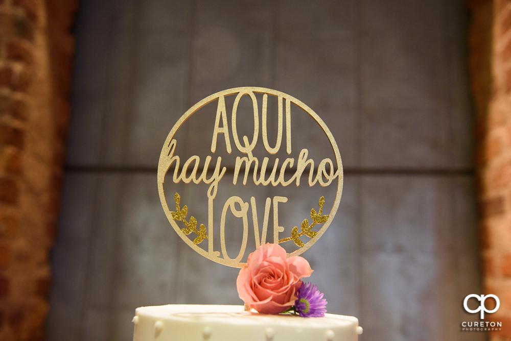 Custom wedding cake topper.