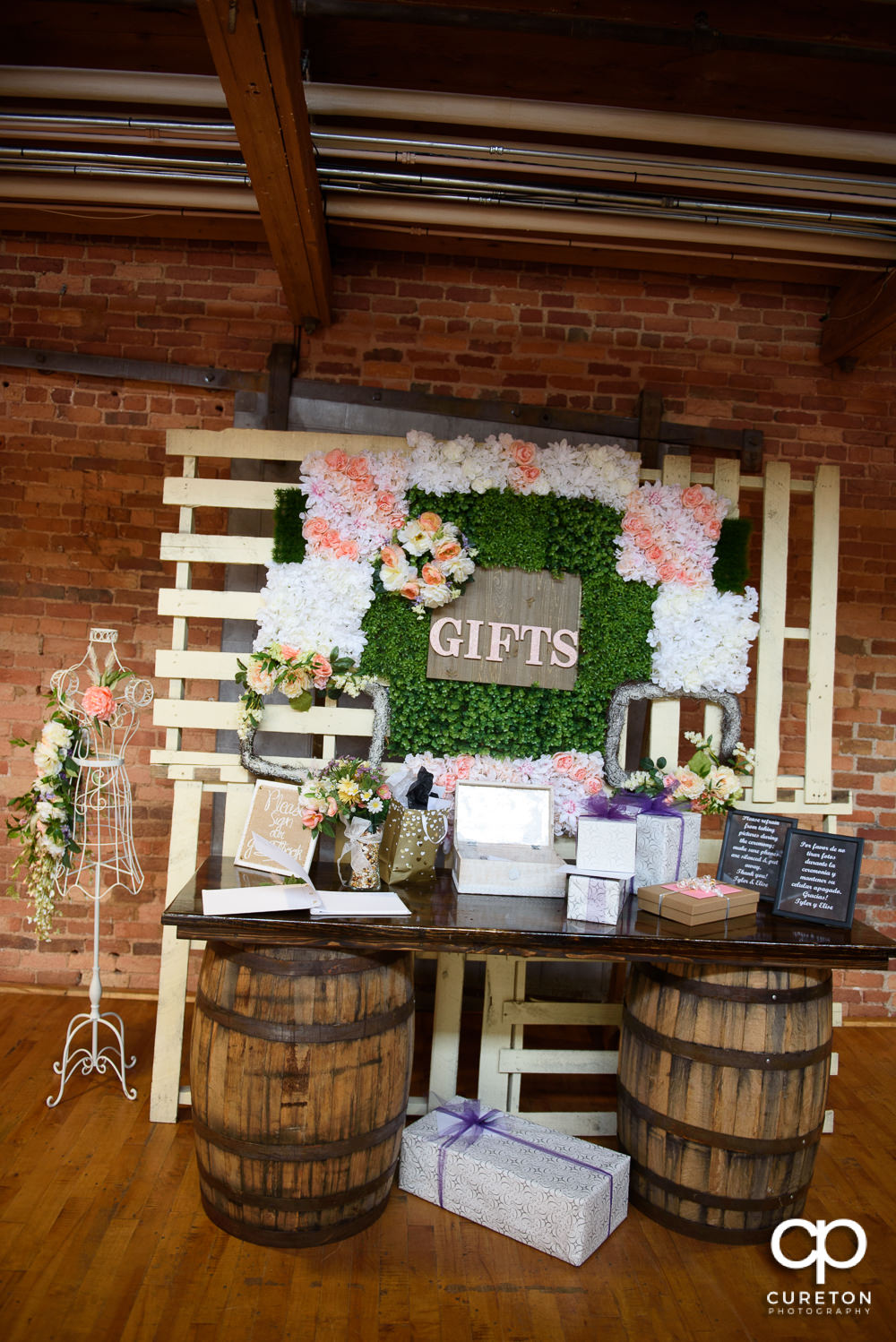 The gift table at the wedding.