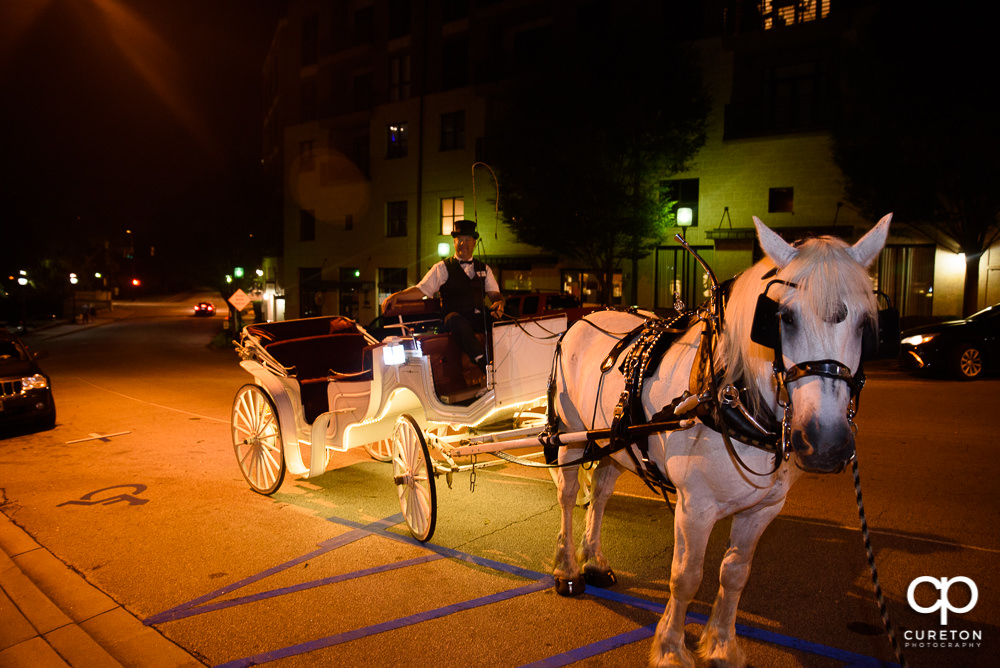 Horse and carriage send off.