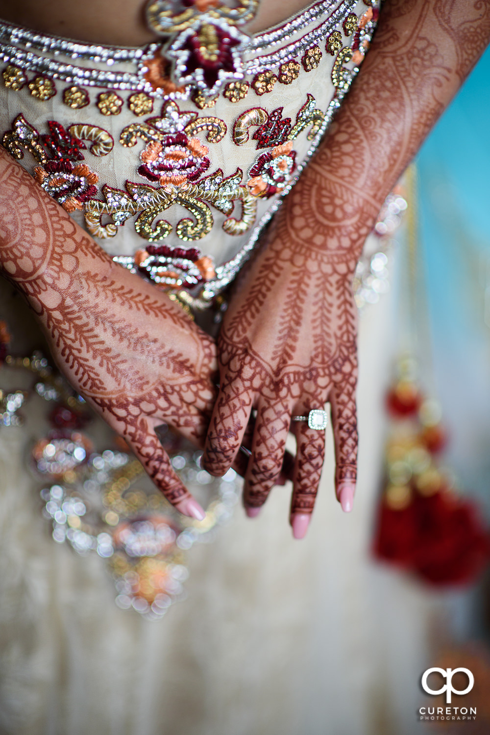 Indian bride getting ready for her wedding.