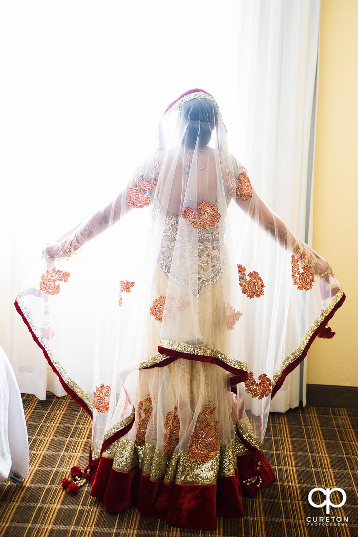 Indian bride in pretty light.