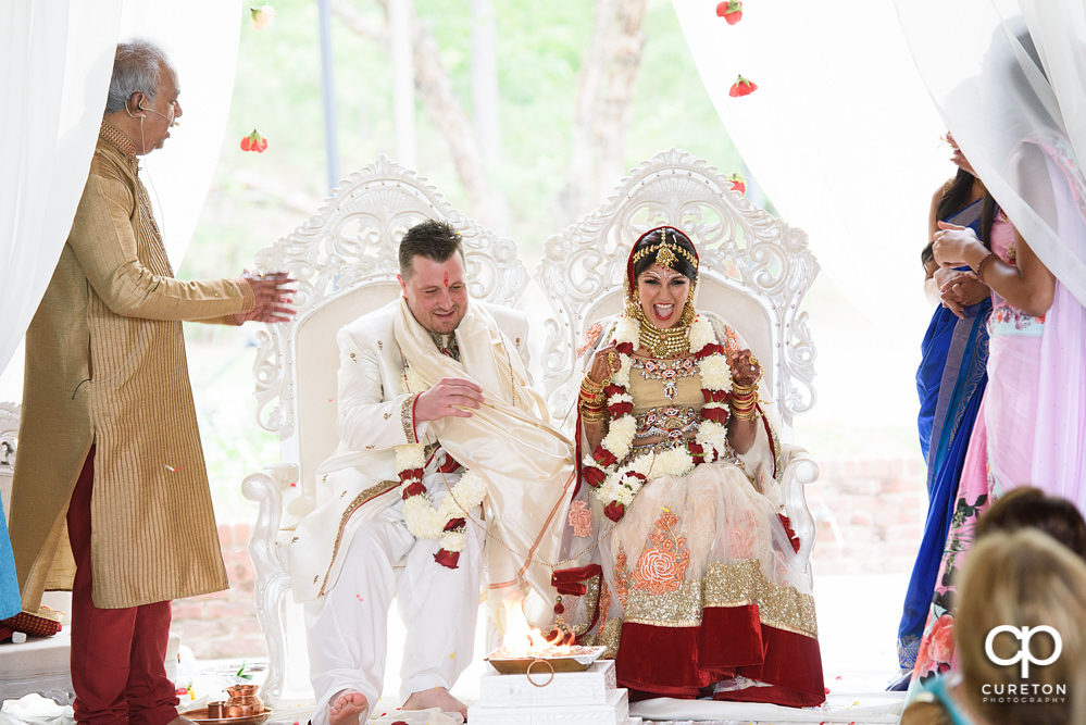 Outdoor Indian wedding ceremony at Embassy Suites hotel in Greenville SC.