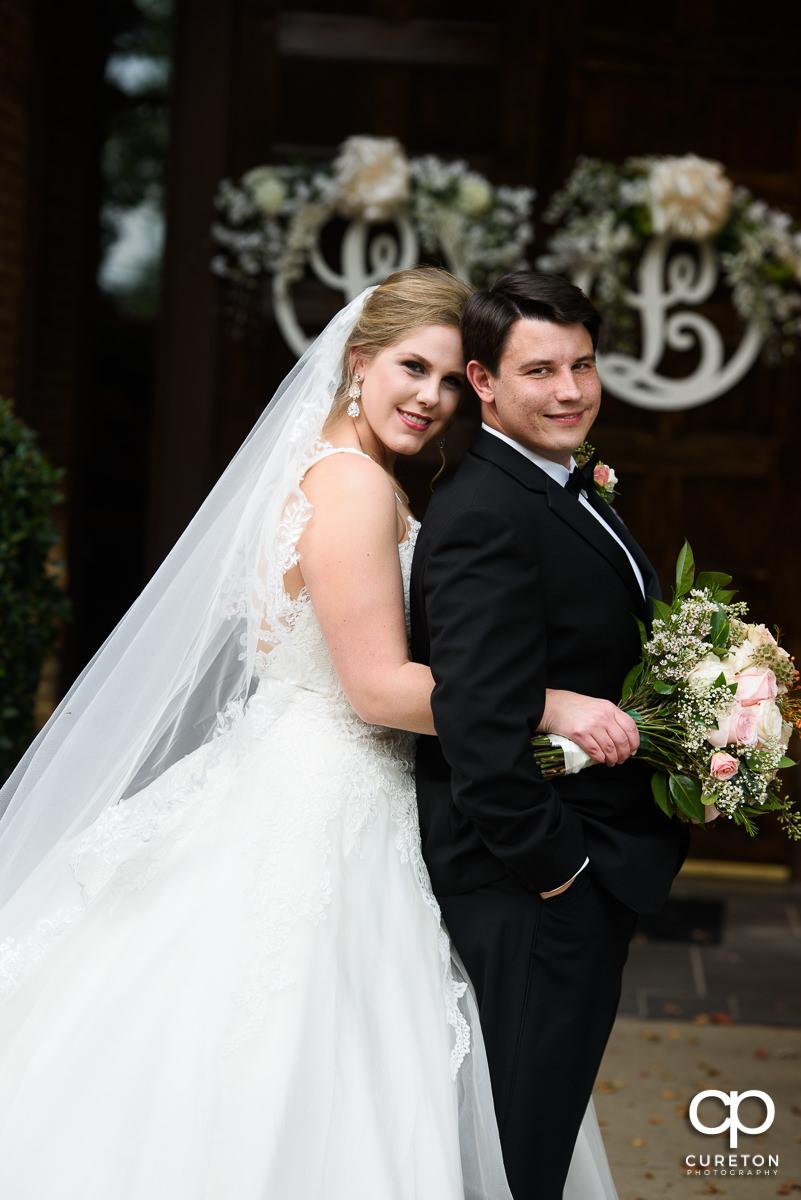 Bride and groom before their Spartanburg church wedding.