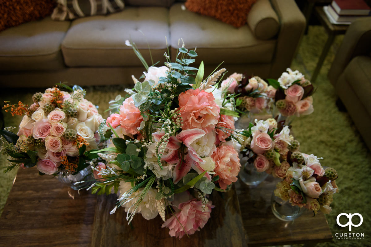 Bridal flowers on a table.