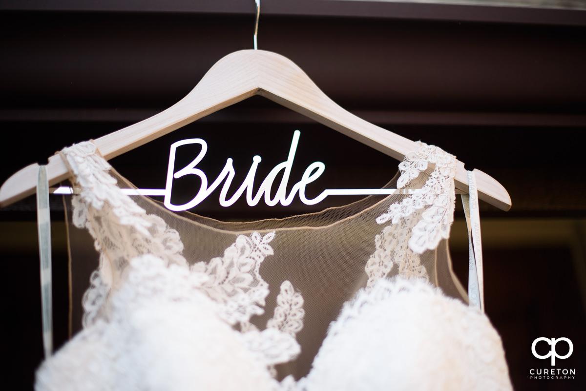 Bride dress hangar.