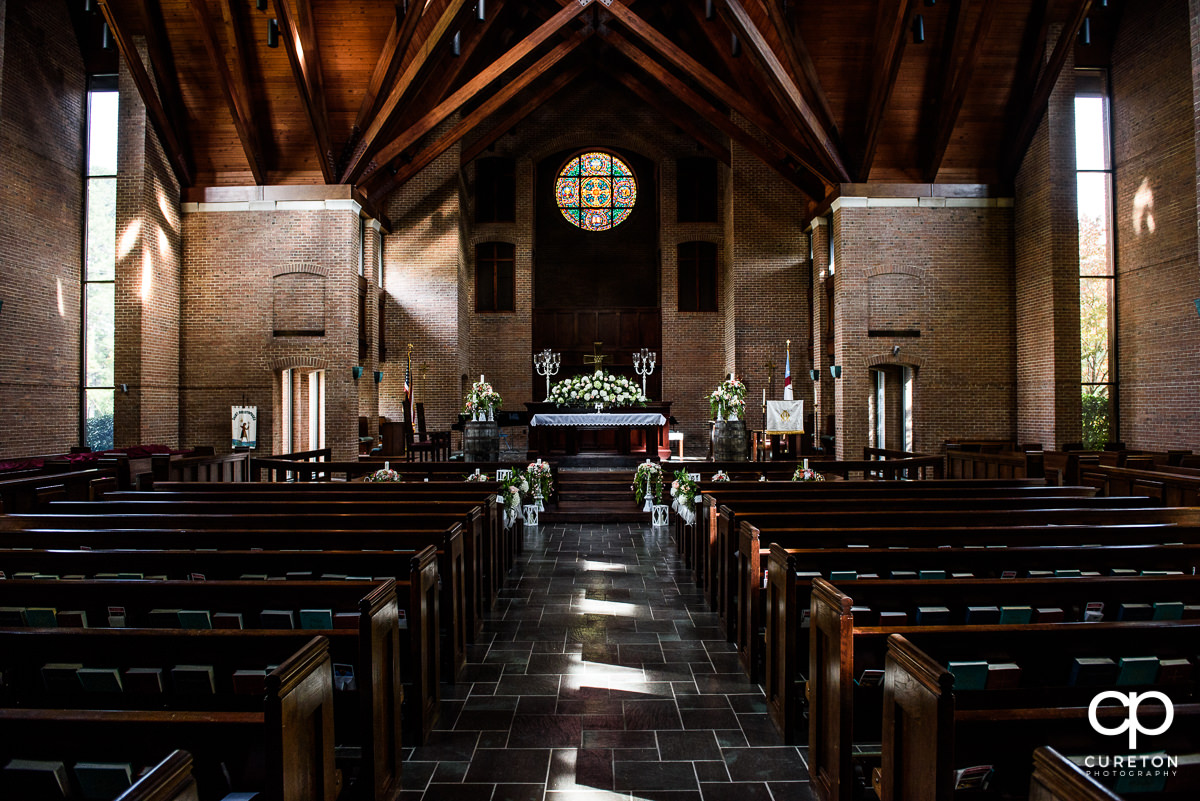 The sanctuary decorated for a wedding at St. Christopher's church in Spartanburg.