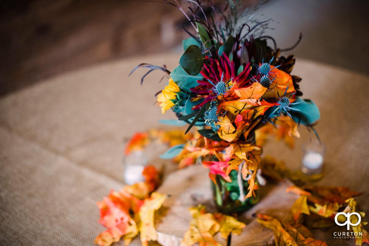 Fall flower wedding center piece.