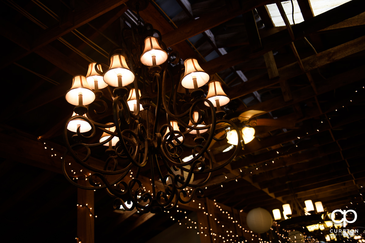 Chandelier in the barn at Lindsey Plantation.