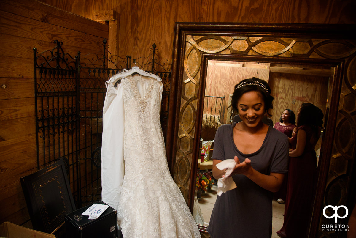 Bride and her dress.