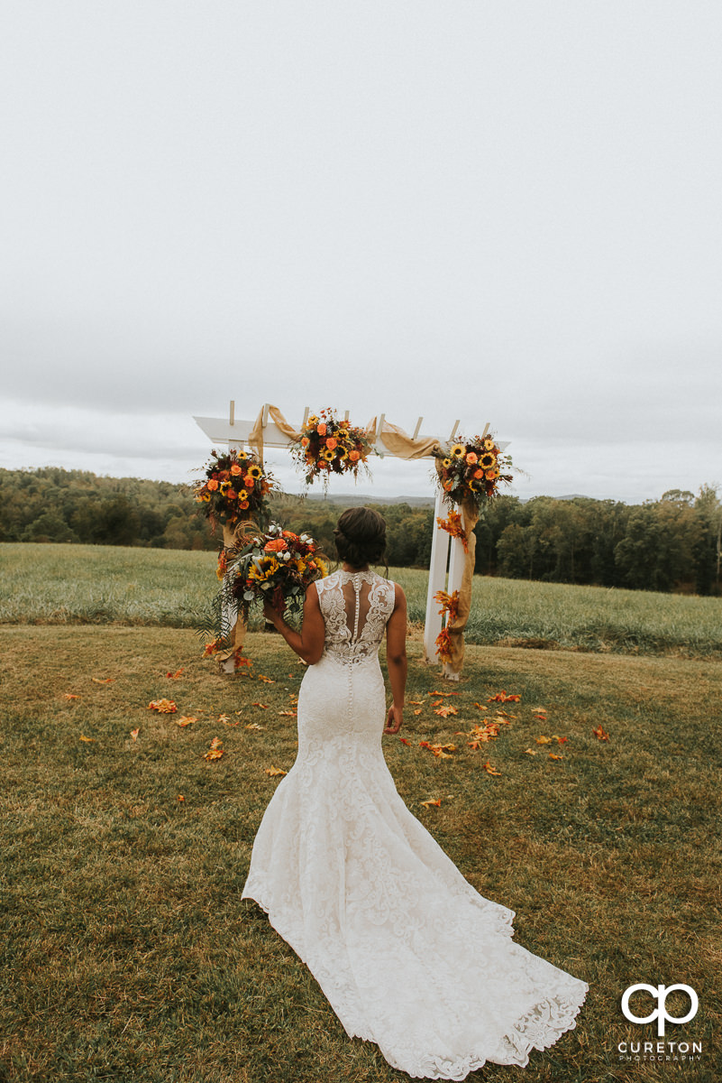Bride in the field at Lindsey Plantation in Taylors,SC.