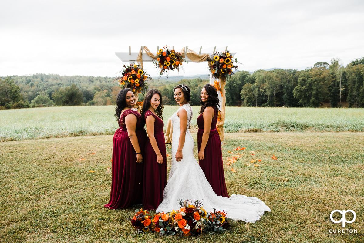 Bridesmaids in the field at Lindsey Plantation.