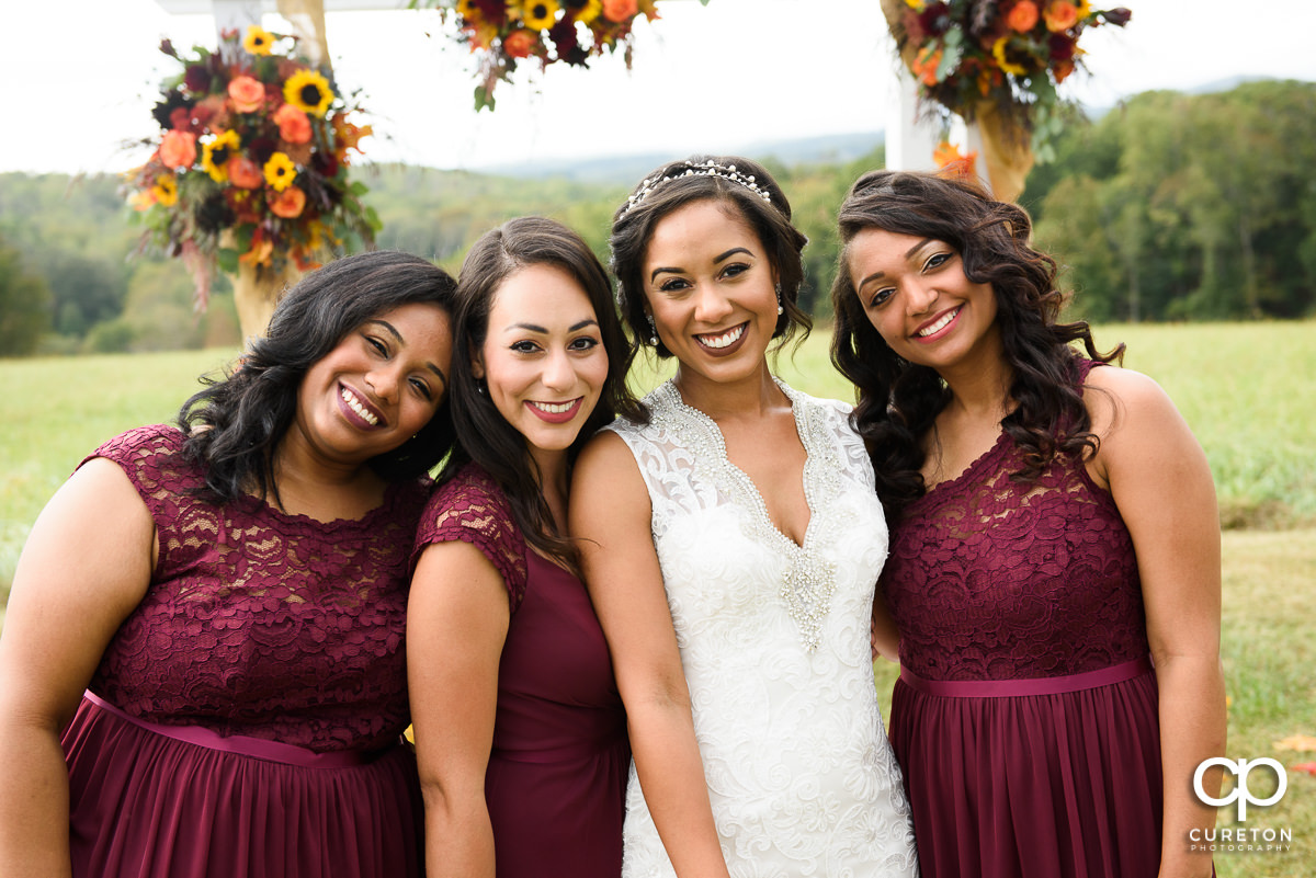 Bridesmaids in the field.