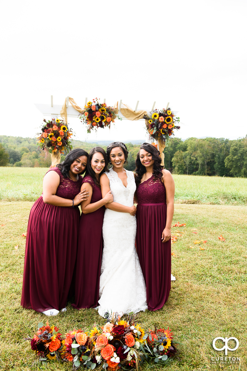 Bridesmaids in the meadow at Lindsey Plantation.