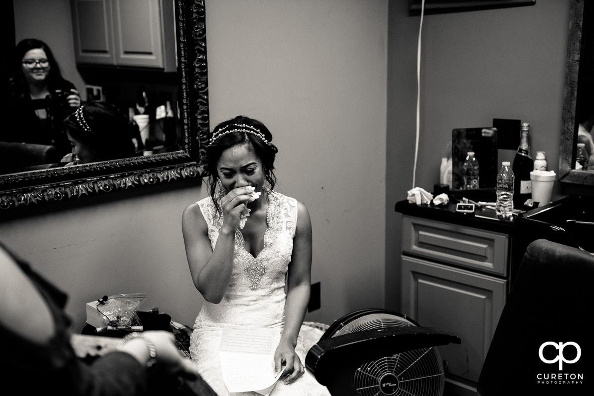 Bride crying.