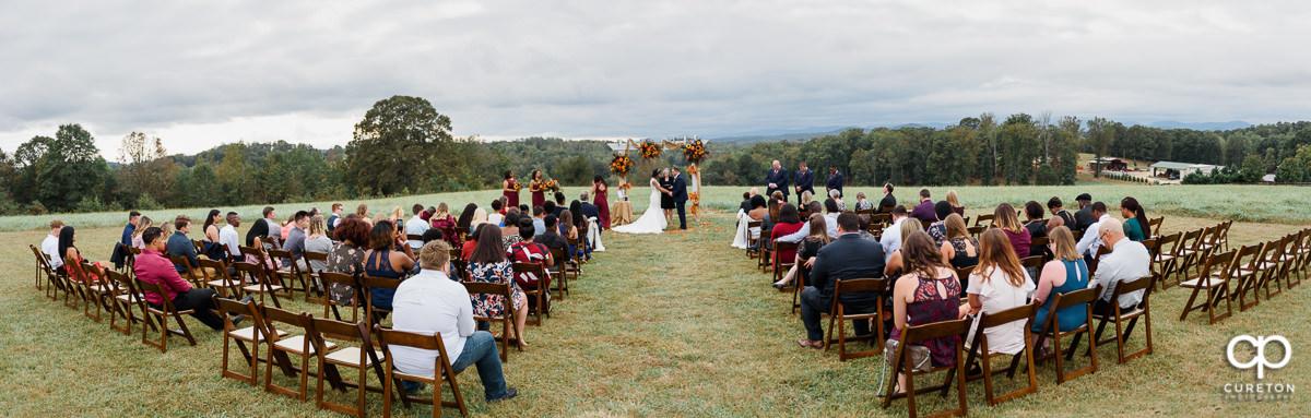 Panoramic shot of the wedding ceremony.