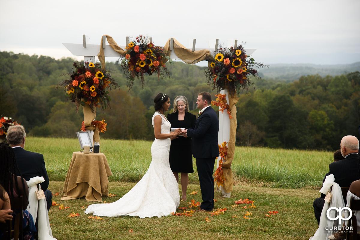 Fall wedding ceremony at Lindsey Plantation.