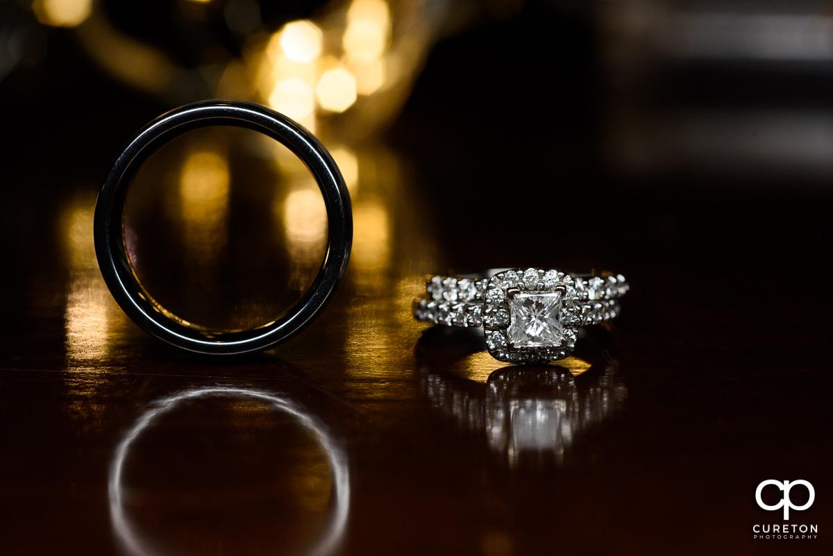 Wedding rings closeup.