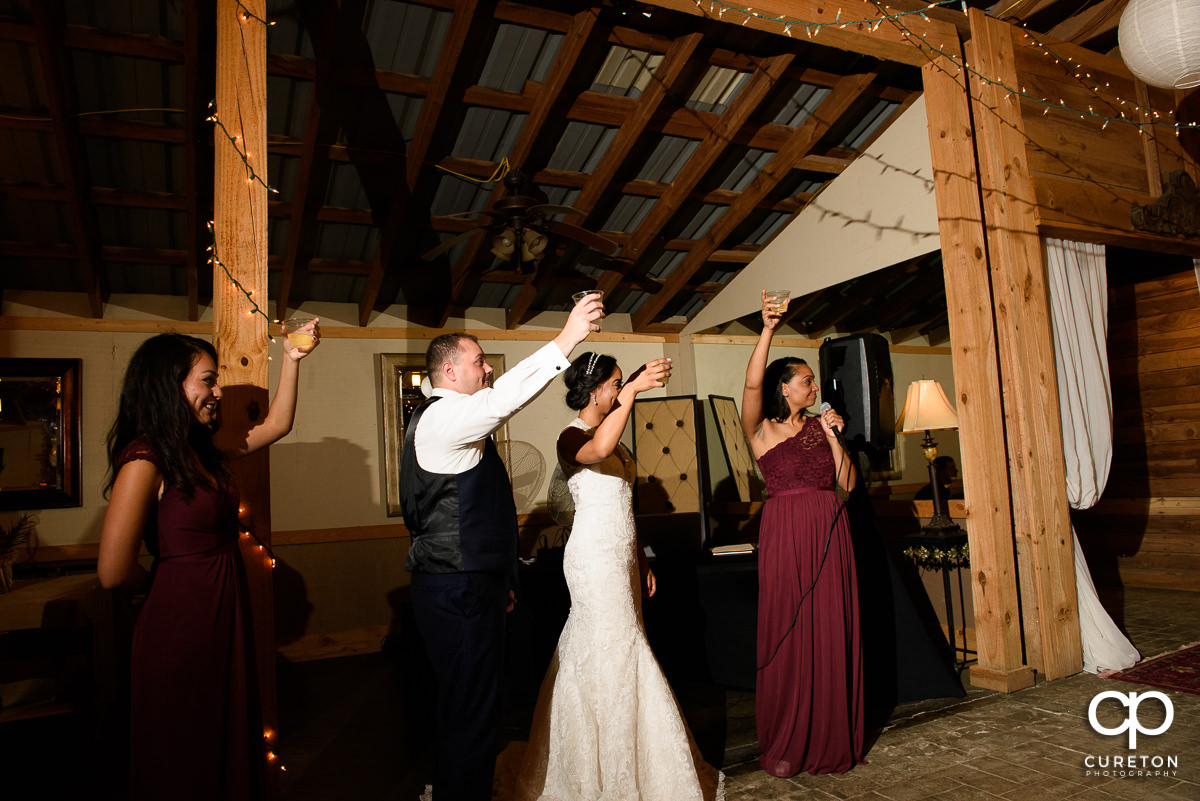 Guests lifting their glasses toasting the happy couple.
