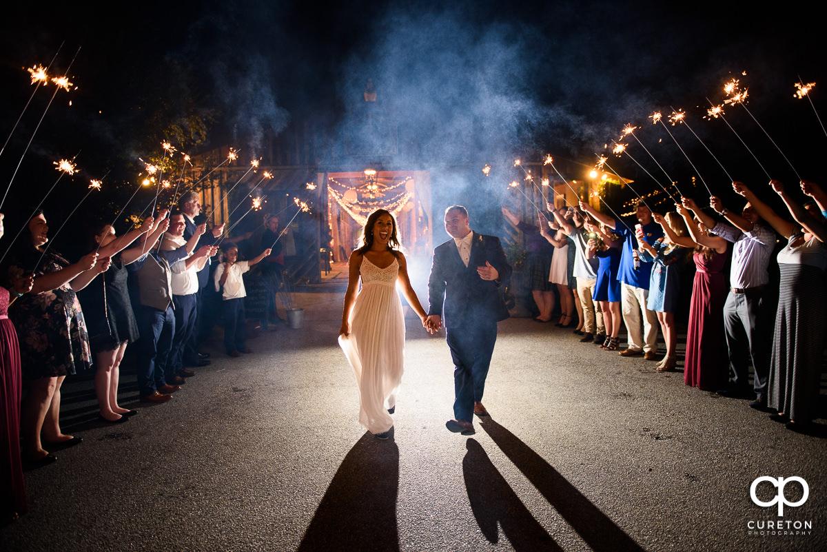 Sparkler leave at the wedding reception at Lindsey Plantation.