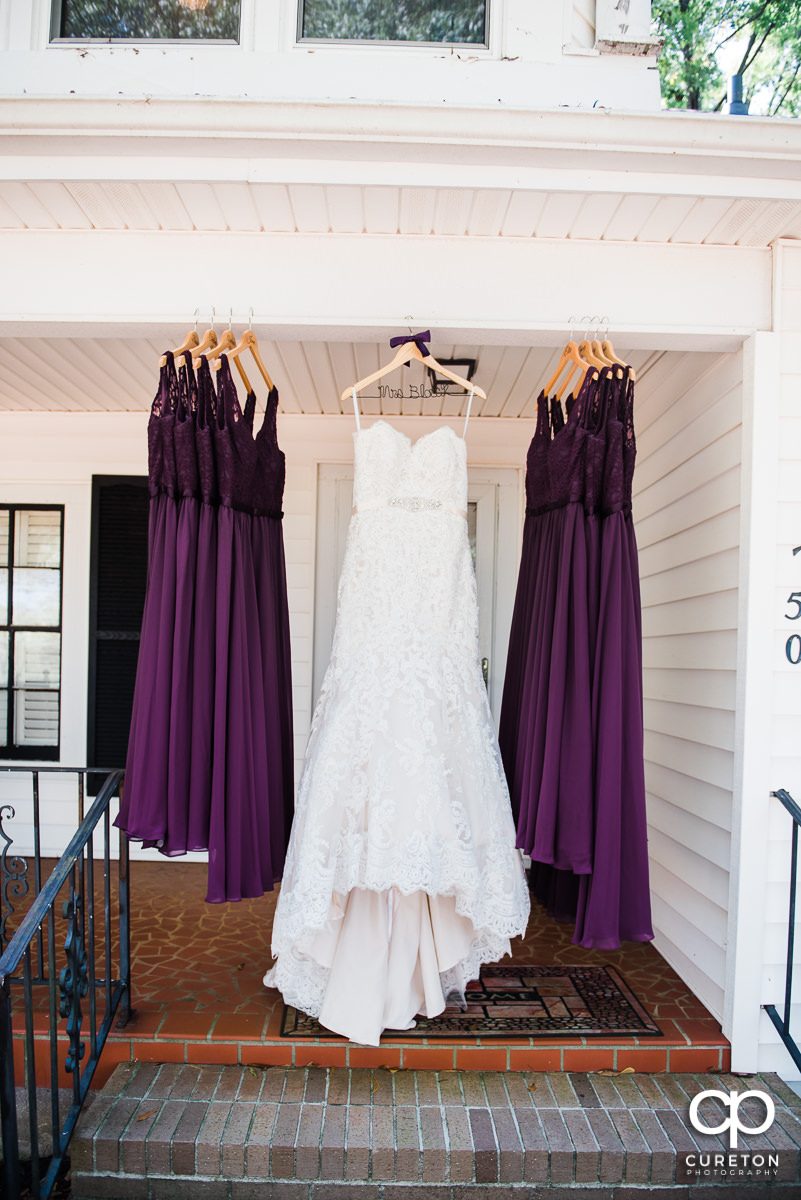 Bride and bridesmaids's dresses.