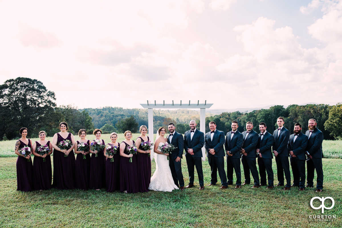 Large wedding party at Lindsey Plantation.