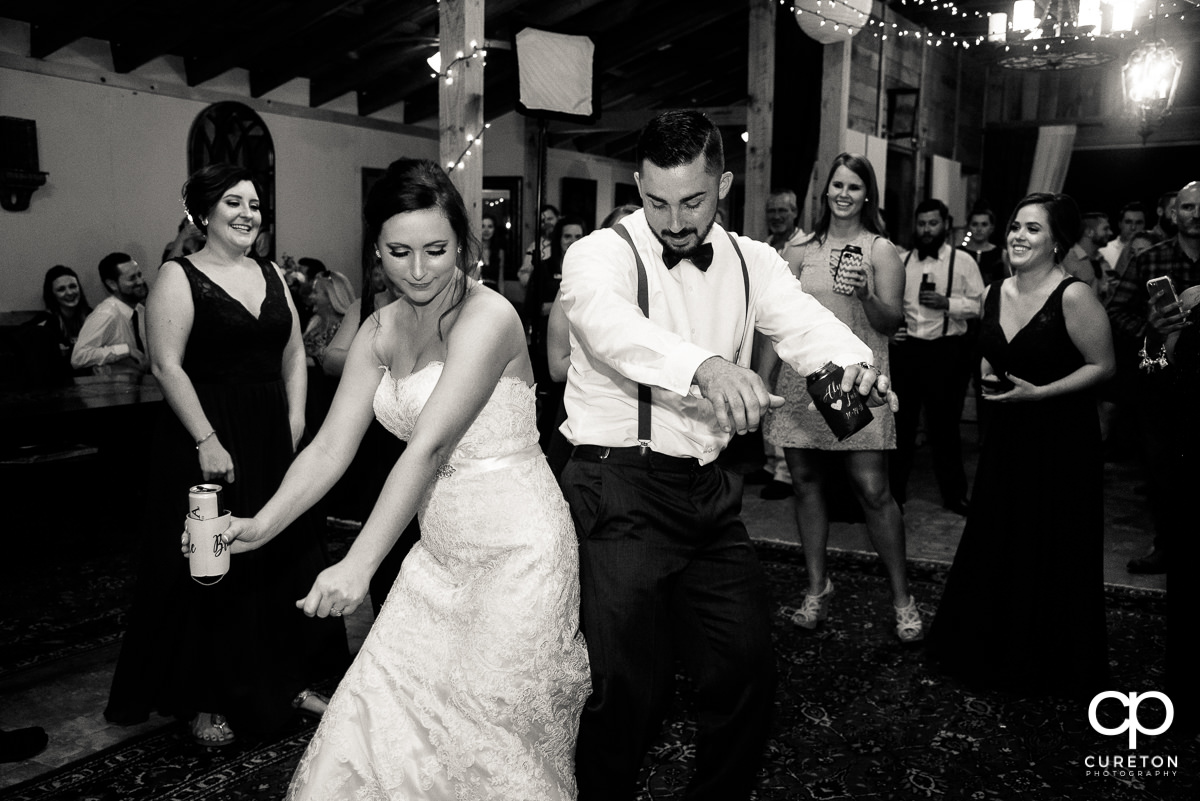 Bride and groom on the dance floor.