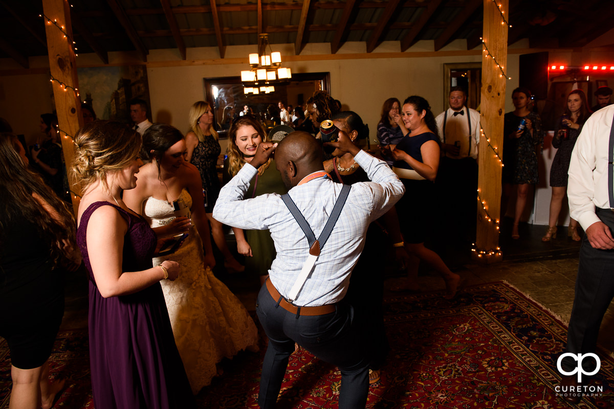 Wedding guests pack the dance floor at Lindsey Plantation.