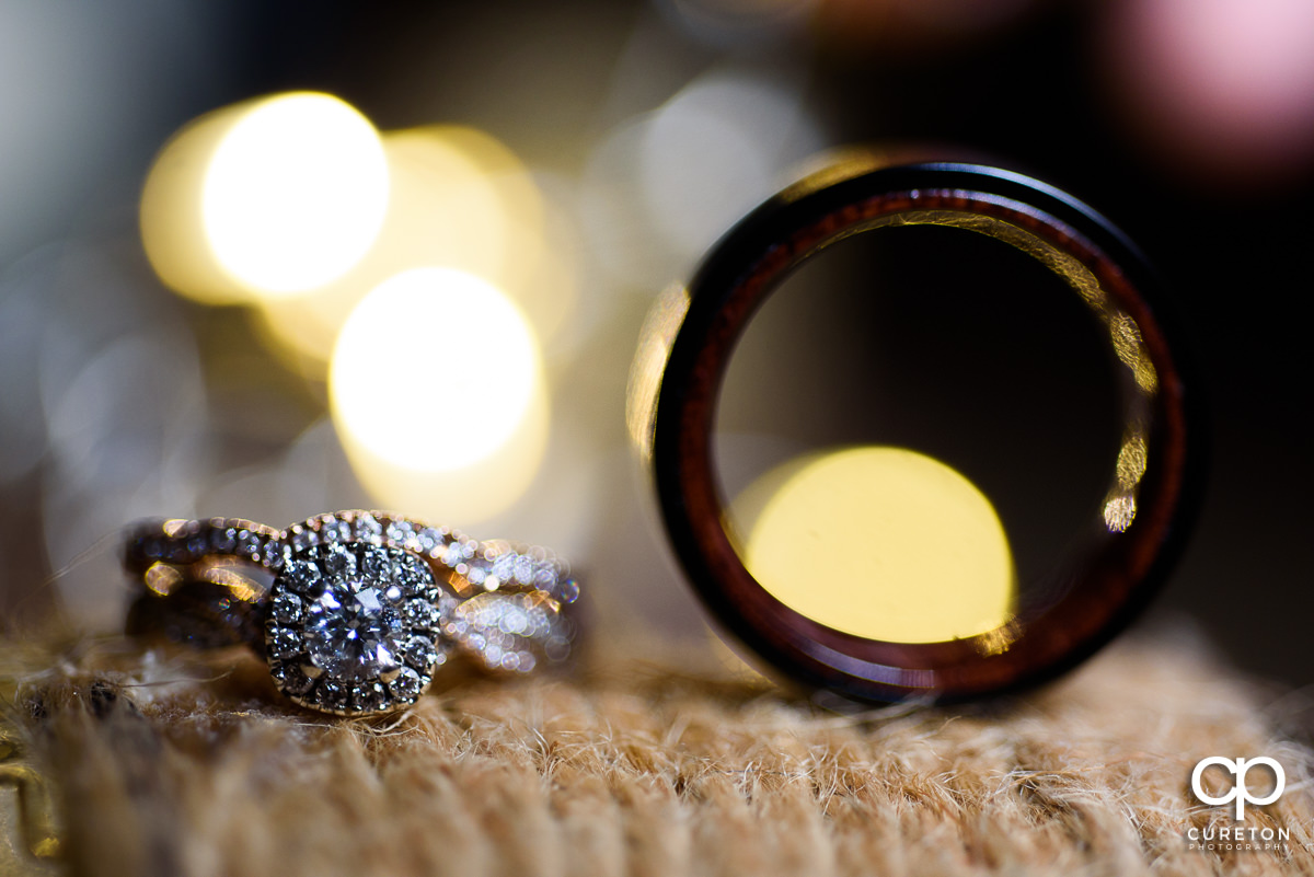 Wedding rings closeup.