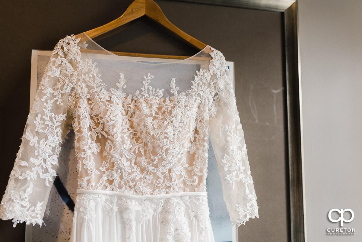 Bride's dress detail.