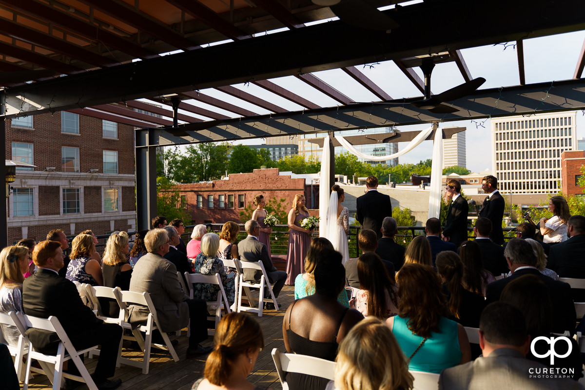 Soby's Loft rooftop wedding ceremony in downtown Greenville,SC.